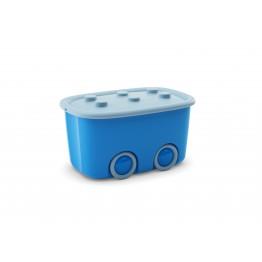 Contenitore portagiochi con ruote FUNNY BOX azzurro