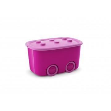 Contenitori portagiochi con ruote  FUNNY BOX rosa (6 pezzi)
