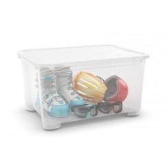 Contenitori in plastica con ruote e coperchio T-BOX XXL - Trasparente (6 pezzi)