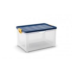 Contenitori in plastica Clipper Box XL 58 x 39 x 39 h - Trasp. cop. Blu (3 pezzi)