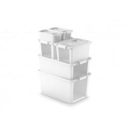 Contenitori in plastica BI BOX L  55 x 35 x 28 h bianco/trasp. (5 pezzi)