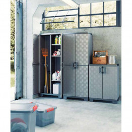 Armadio Portascope in plastica lavanderia garage UP 68 x 39 x 173 h Grigio